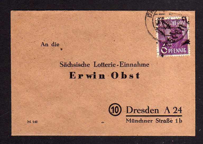 h1073 Brief Handstempel Bezirk 14 Dresden 20 6 Pfg. Lotterie Brief Sächsische Lo 0