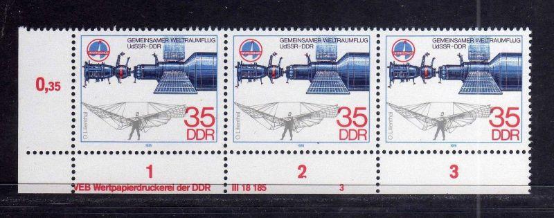 DDR 1978 2362 DV 3 ** Sojus Otto Lilienthal Interkosmos Gemeinsamer Weltrau 0