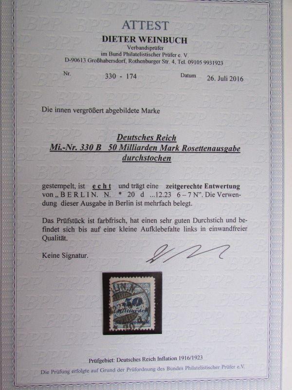H1012 DR 330 B 50 Milliarden gestempelt durchstochen Fotoattest 2