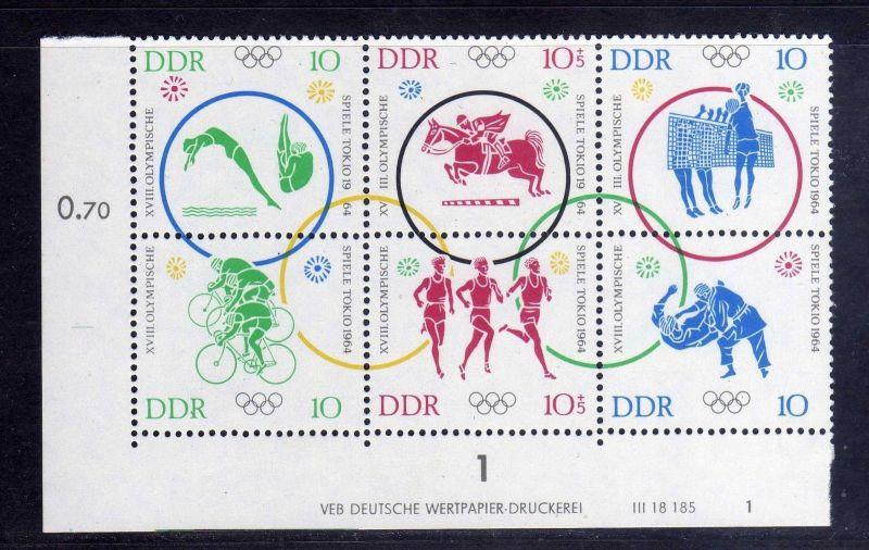 DDR 1964 1039 - 1044 DV Druckvermerk FN 1 ** Olympische Sommerspiele Tokio 0