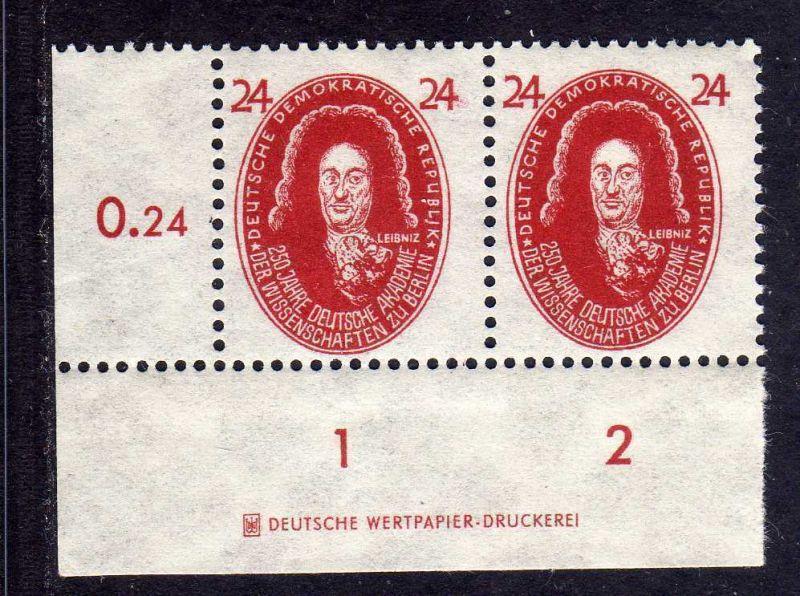 DDR 1950 269 Akademie 24 Pfg. Leibnitz * DZ Druckereizeichen 0