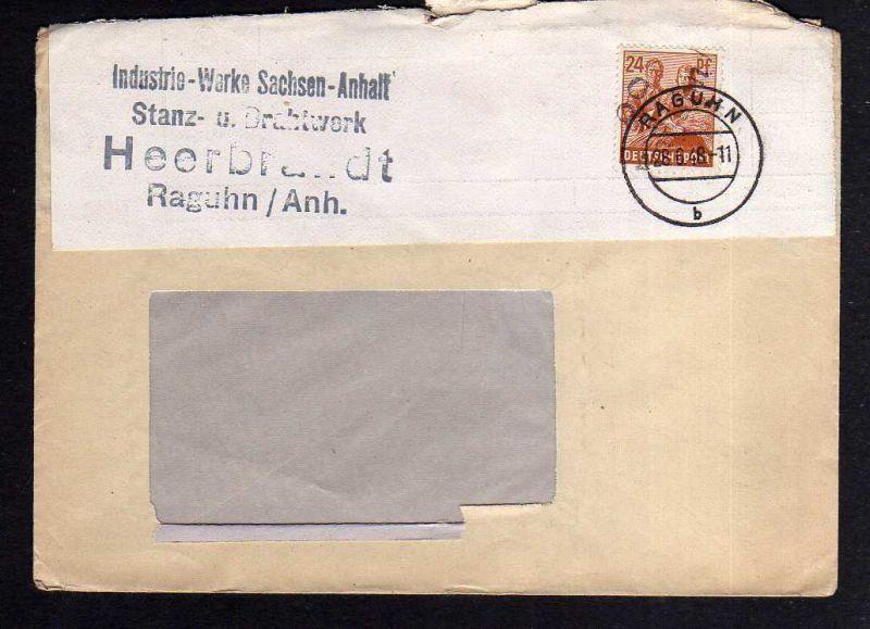h883 Brief Handstempel Bezirk 2° Raguhn 28.6.48 Stanz- u.Drahtwerk Heerbrandt 0