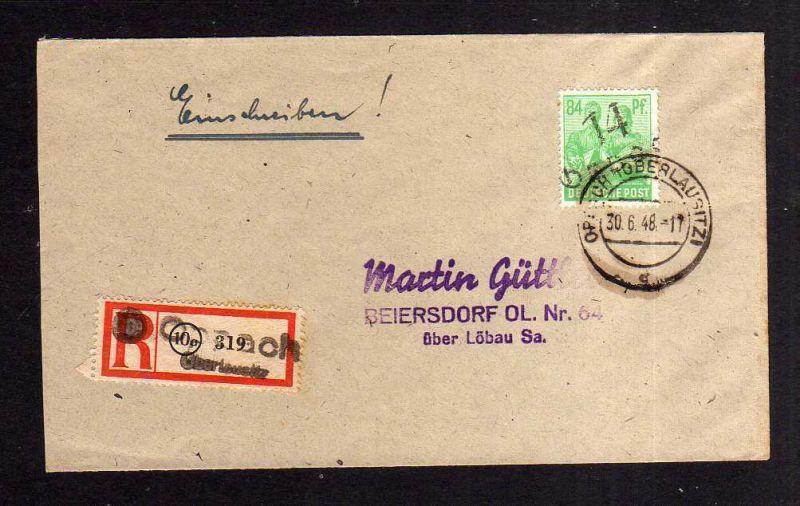 h1187 Brief Handstempel Bezirk 14 Oppach 84 Pfg. Einschreiben 30.6.48 nach Beier 0