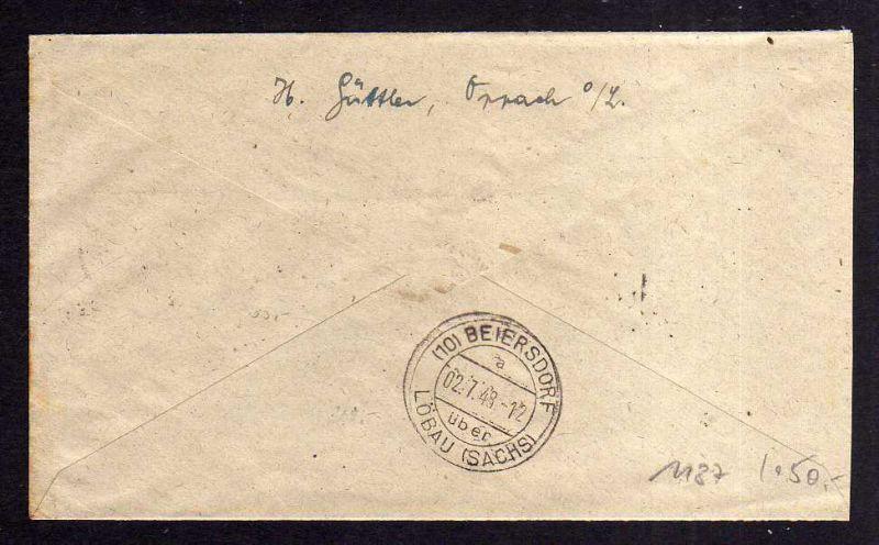 h1187 Brief Handstempel Bezirk 14 Oppach 84 Pfg. Einschreiben 30.6.48 nach Beier 1