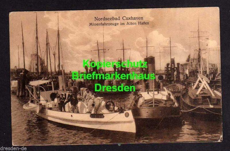 Ansichtskarte Nordseebad Cuxhaven Mienenfahrzeuge im Alten Hafen Feldpost 1. WK ca. 0