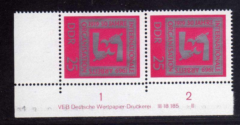 DDR 1969 1518 DV Druckvermerk FN II **  50 Jahre Internationale Arbeitsorga 0