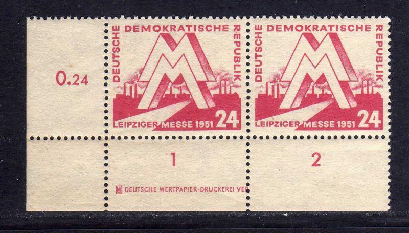 DDR 282 24 Pfg. Leipziger Messe 1951 ** DV nicht gefalten allseits durchgezä