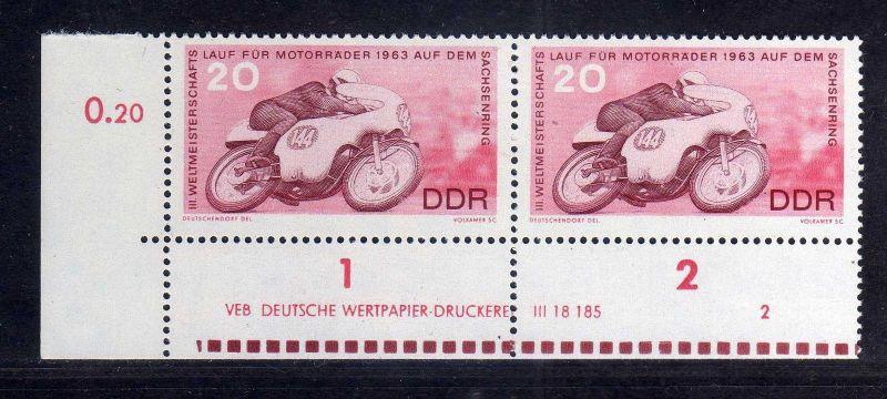 DDR 1963 973 DV Druckvermerk 2 ** Motorradrennen Sachsenring 0