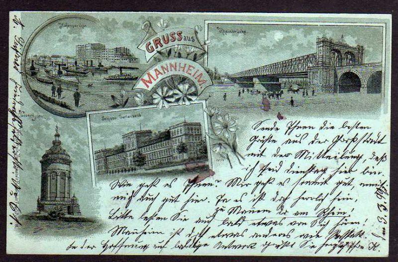 Ansichtskarte Mannheim 1899 Mondscheinkarte Wasserturm Hafen Rheinbrücke Schloss 0