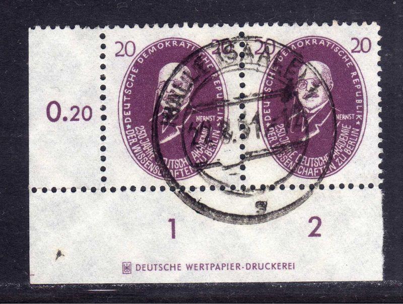 DDR 1950 266 20 Pfg. Akademie Walther Nernst gestempelt DZ Druckereizeichen