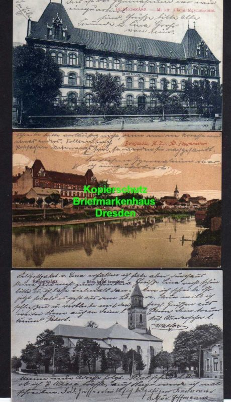 3 Ansichtskarte Beregszasz Bergsaß Berehowe 1915 Feldpoststation 151 Gymnasium Kirch 0
