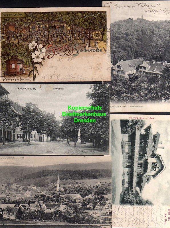 5 Ansichtskarte Suderode Litho Behringer Sool Brunnen 1901 Markt 1912 Hotel Michaeli 0