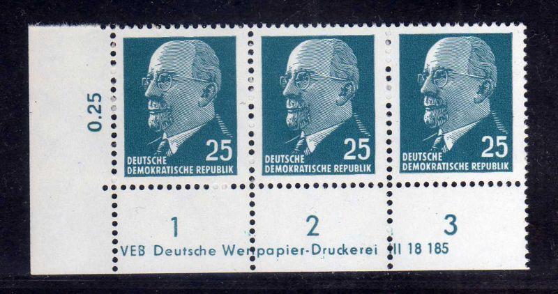 DDR 1963 934 X x I DV Druckvermerk ** Dauerserie 25 Pfg. Walter Ulbricht 0