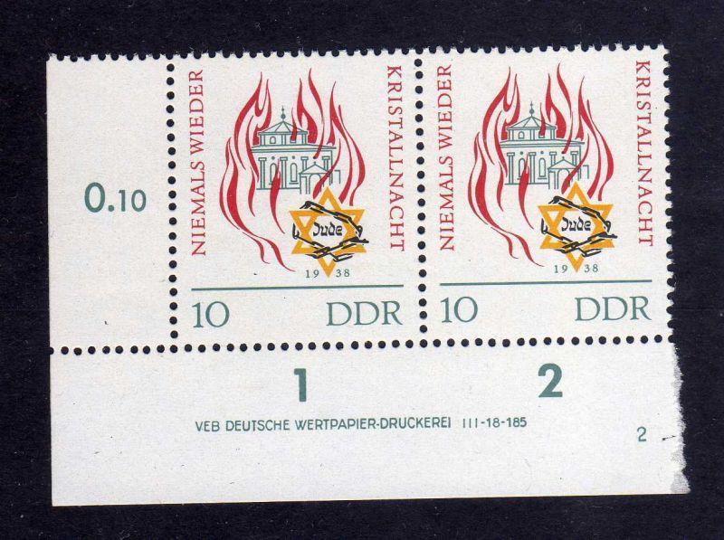 DDR 1963 997 DV Druckvermerk 2 **  Reichskristallnacht