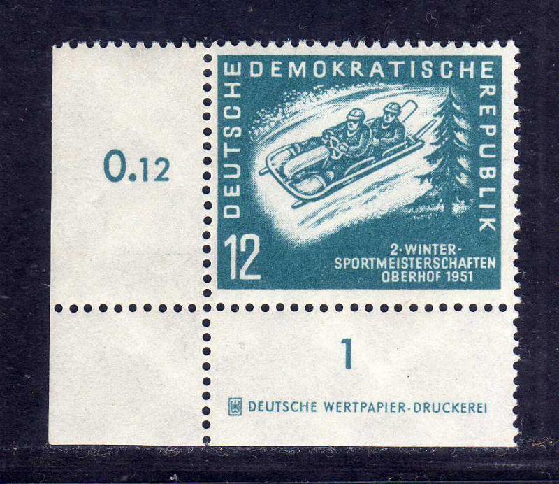 DDR 1951 280 DZ Druckereizeichen ** Oberhof allseits durchgezähnt