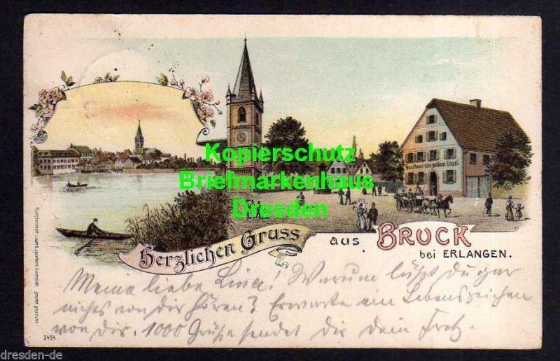Ansichtskarte Bruck bei Erlangen Litho 1899 Gasthaus zum goldnen Engel 0