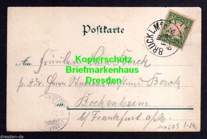 Ansichtskarte Bruck bei Erlangen Litho 1899 Gasthaus zum goldnen Engel 1
