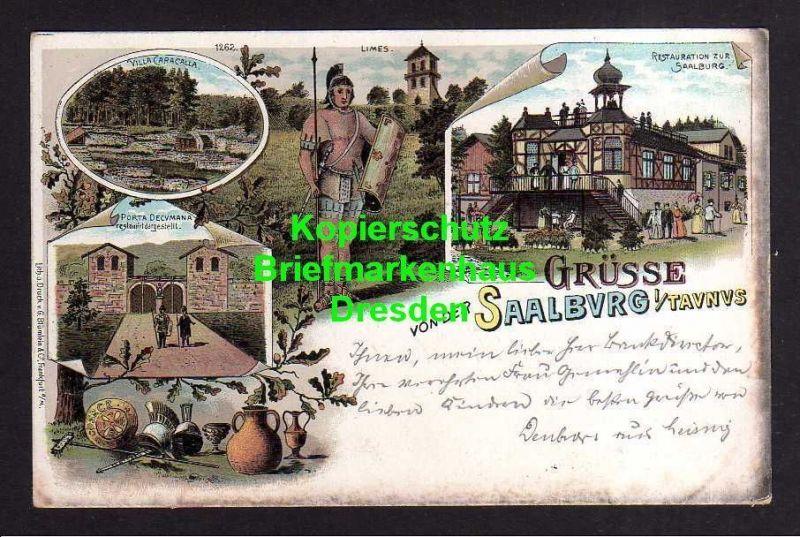 Ansichtskarte Saalburg Taunus 1897 Litho Römer Restauration zur Saalburg 0