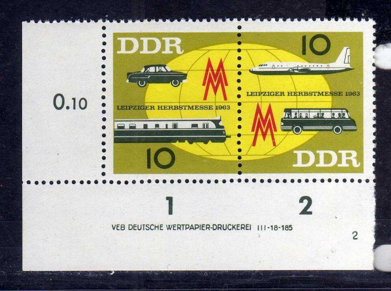 DDR 1963 976 - 977 DV Druckvermerk 4 ** Leipziger Herbstmesse allseits durch