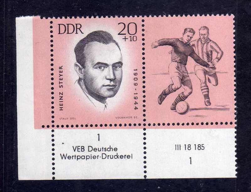 DDR 1963 961 DV Druckvermerk 1 ohne Farbbalken ** antifaschistische Sportler