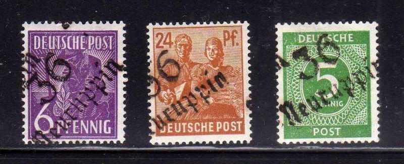 H1404 Handstempel Bezirk 36 Neuruppin 3 Werte * mit Zi 5 gepr. BPP 0
