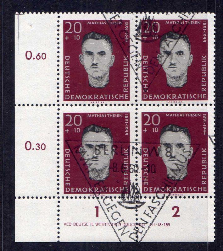 DDR 1960 767 gestempelt DV Wolf Variante a im Viererblock Antifaschisten