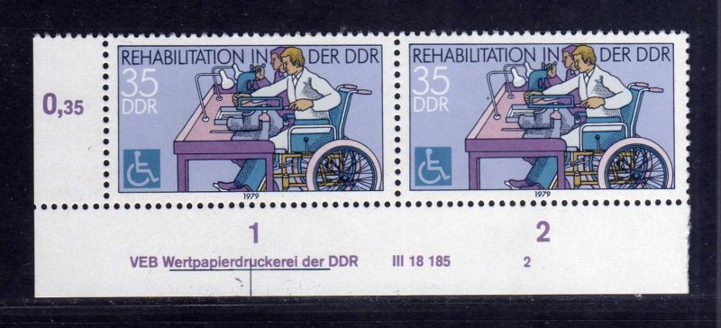 DDR 1979 2432 DV 2 ** Rehabilitation von Behinderten 0