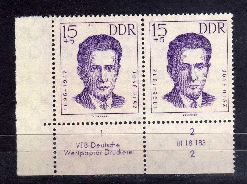 DDR 1962 920 DV Formnummer 2 Druckvermerk ** Antifaschisten 15+5 Pfg.