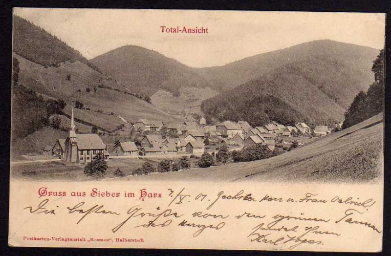 Ansichtskarte Sieber Herzberg am Harz 1901 Totale Kirche 0