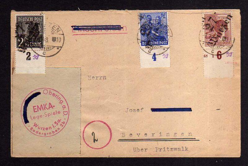 H1262 Brief Handstempel Bezirk 27 Wurzen 7.7.48 EMKA Legespiele 0