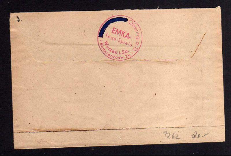h1262 Brief Handstempel Bezirk 27 Wurzen 7.7.48 EMKA Legespiele 1