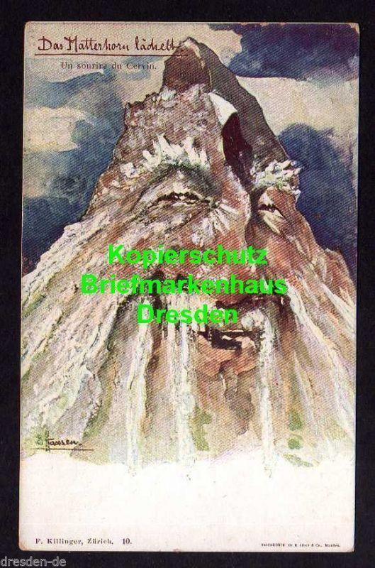 Ansichtskarte Berggesichter F. Killinger Zürich 10 Das Matterhorn lächelt signiert H