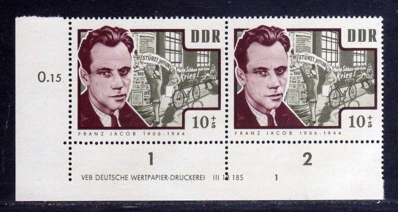 DDR 1964 1015 DV Druckvermerk 1 **  Antifaschisten Franz Jacob