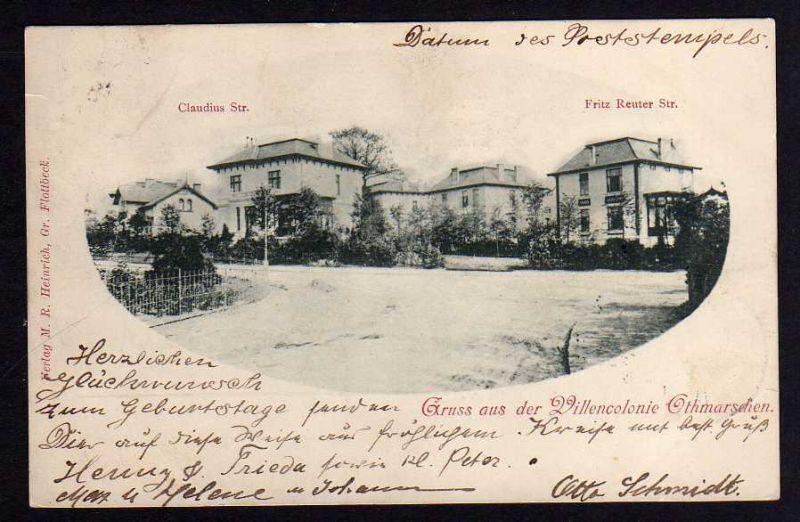 Ansichtskarte Hamburg Altona Othmarschen 1902  Villen Claudius Str. Fritz Reuiter Str 0