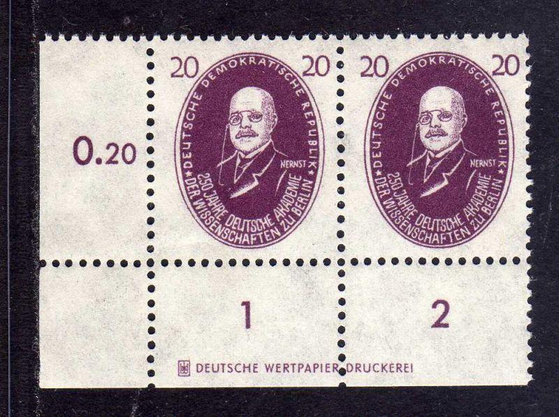 DDR 1950 268 Akademie 20 Pfg. Nernst * DZ Druckereizeichen