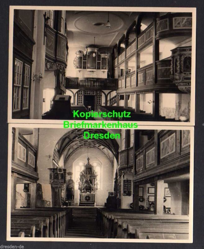2 Ansichtskarte Reinhardtsgrimma Kirche Innenansichten Silbermann Orgel 1731 Fotokar 0