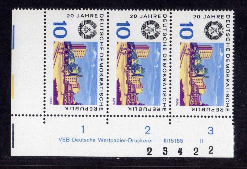 DDR 1969 1502 DV Druckvermerk FN II ** 20 Jahre DDR Suhl + Bogenzählnummer