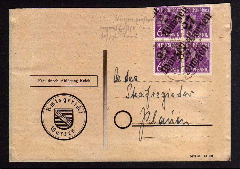 h1261 Brief Handstempel Bezirk 27 Waldheim 1.7.48 Amtsgericht Notumschlag 0