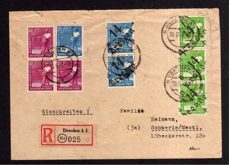 h1117 Brief Handstempel Bezirk 14 Dresden A1 Einschreiben 30.6.48 nach Schwerin