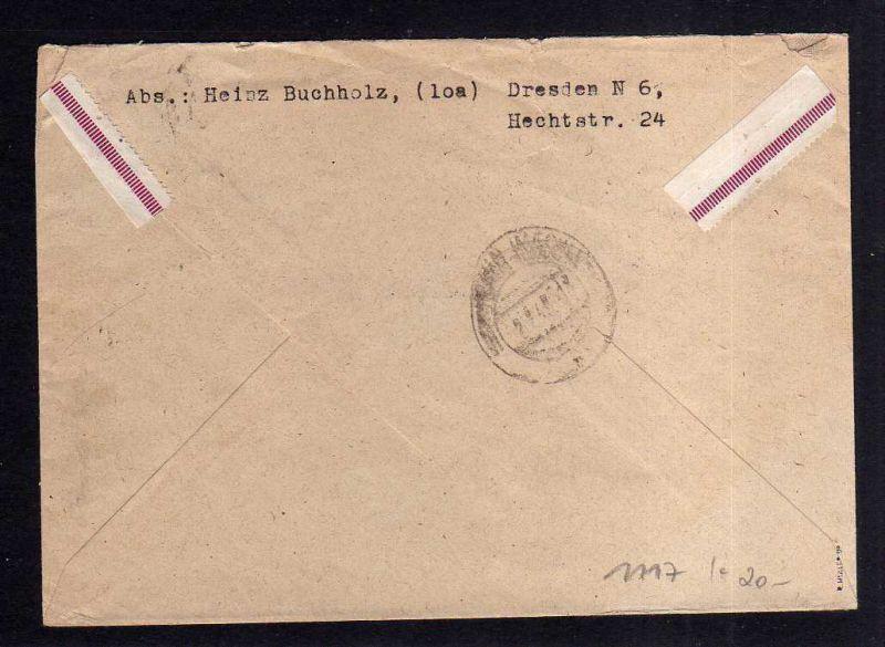 h1117 Brief Handstempel Bezirk 14 Dresden A1 Einschreiben 30.6.48 nach Schwerin 1