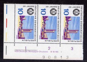 DDR 1969 1504 DV Druckvermerk FN I ** 20 Jahre DDR Leipzig + Bogenzählnumme