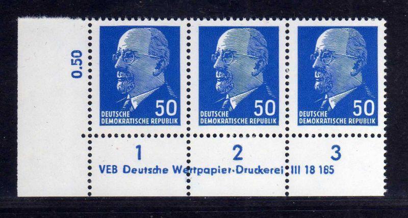 DDR 1963 937 X x I DV Druckvermerk 1 ** Dauerserie 50 Pfg. Walter Ulbricht