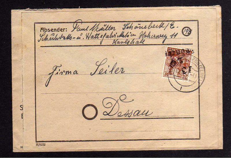h879 Brief Handstempel Bezirk 29 Schönebeck 3 2.7.48 Notumschlag nach Dessau