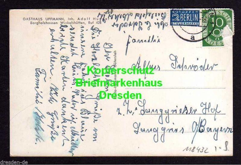 Ansichtskarte Borgholzhausen Winkelshütten 1953 Gasthaus Uffmann Bauernstube Klubzim 1