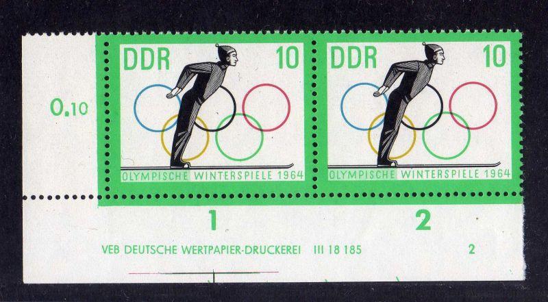 DDR 1963 1001 DV Druckvermerk 2 **  Olympische Winterspiele Innsbruck 0