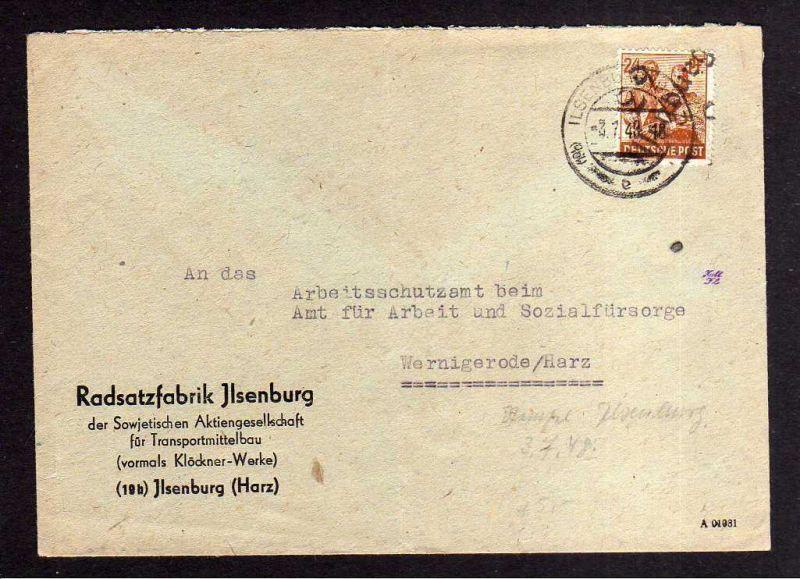 h873 Brief Handstempel Bezirk 29 Ilsenburg Radsatzfabrik SAG 3.7.48 an Arbeitssc 0