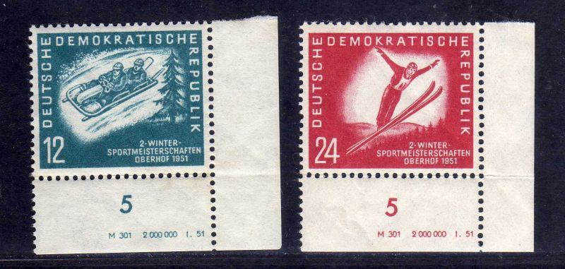 DDR 1951 280 281 DV Druckvermerk * Oberhof rechts nicht durchgezähnt