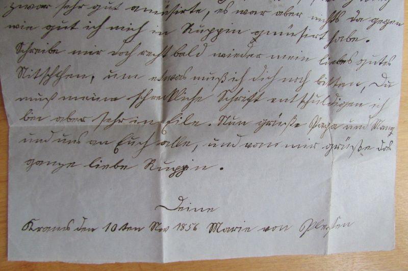 v844 Faltbrief Kyritz 1856 nach Rüggin an Anna von Plesten 0