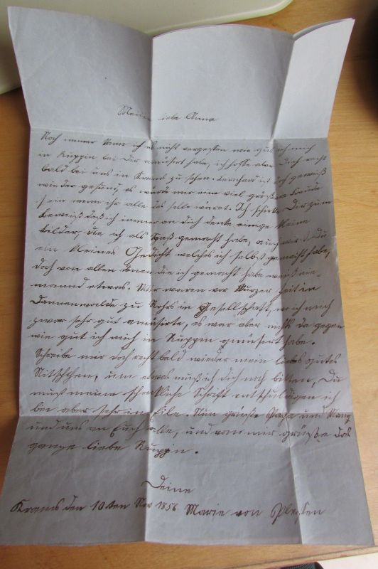 V844 Faltbrief Kyritz 1856 nach Rüggin an Anna von Plesten 1