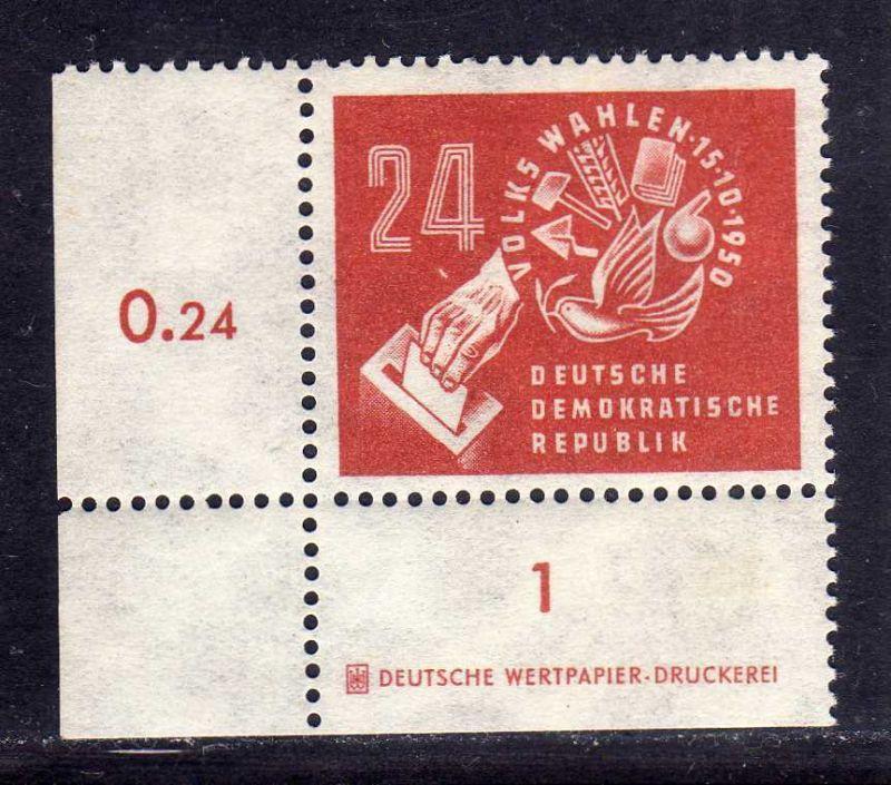 DDR 1950 275 Volkswahlen ** DZ Druckereizeichen ungefalten, nicht angetrennt